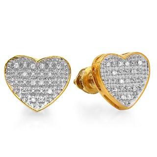 18k Gold over Silver 1/10ct TDW Diamond Heart Earrings (I-J, I2-I3)