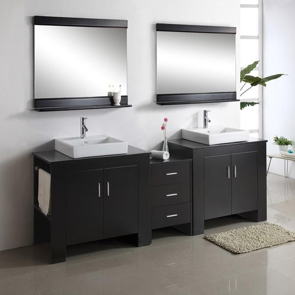 virtu usa tavian 90-inch espresso double sink bathroom vanity set