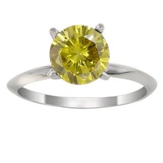 14K White Gold 1/4ct TDW Yellow Diamond Solitaire Ring