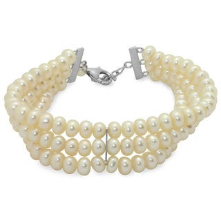 Gioelli Sterling Silver Freshwater Pearl 3-strand Bracelet (5 mm)