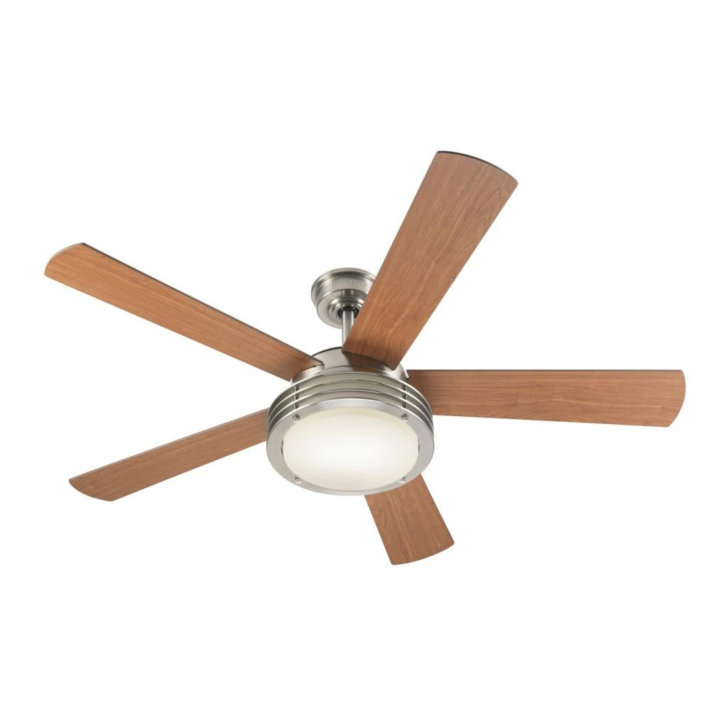 Harbor Breeze Transitional 52 Inch Brushed Nickel Ceiling Fan Brown Glass