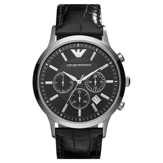 Armani Men's Classic Black Dial Chronograph Watch
