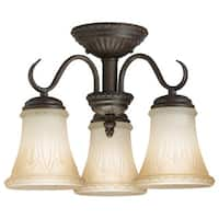 Transitional 3-light Bronze Semi Flush Mount