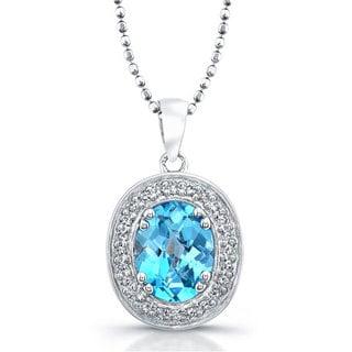 Sterling Silver 1/5ct TDW White Diamond and Blue Topaz Pendant (JK, I2-I3)