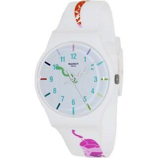 Swatch Women's SUOZ158 White Silicone Quartz Watch with White Dial