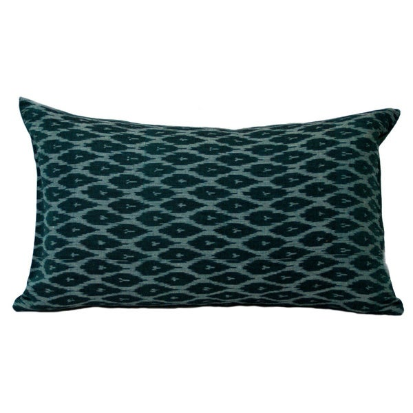 Decorative Lumbar Pillows Green : Hand-Woven Ikat Decorative Green Lumbar Pillow (India) - Free Shipping Today - Overstock.com ...