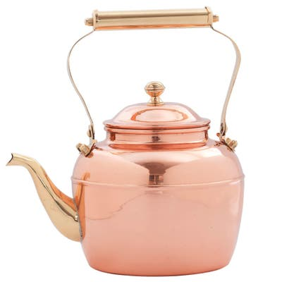 2.5-quart Solid Copper Tea Kettle with Brass Handle