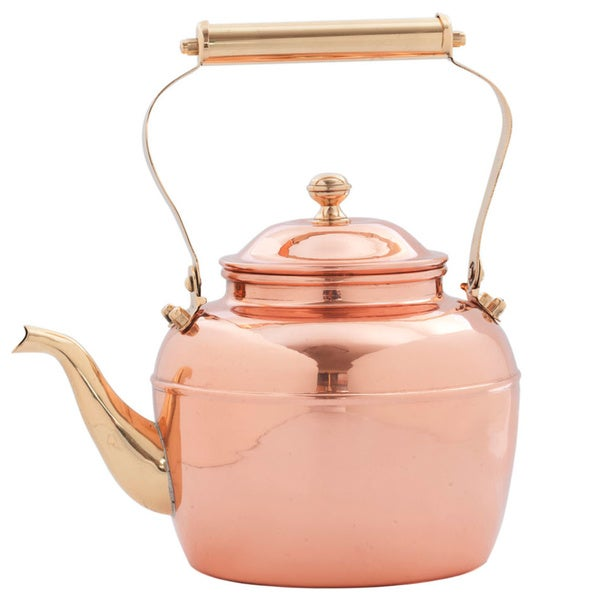 2.5-quart Solid Copper Tea Kettle with Brass Handle. Opens flyout.