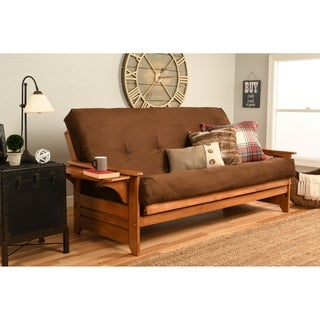 Medium image of somette ali phonics multi flex honey oak full size wood futon frame with innerspring