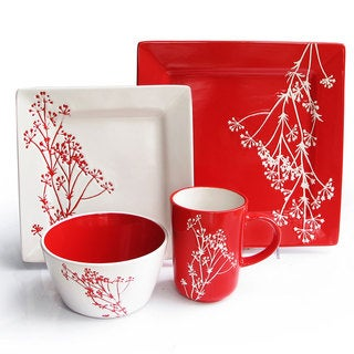 American Atelier Blossom Branch Red 16-piece Dinner Set