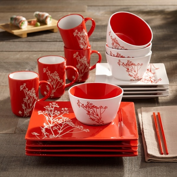 Nice American Atelier Blossom Branch Red 16 Piece Dinner Set