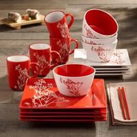 American Atelier Blossom Branch Red 16-piece Dinner Set