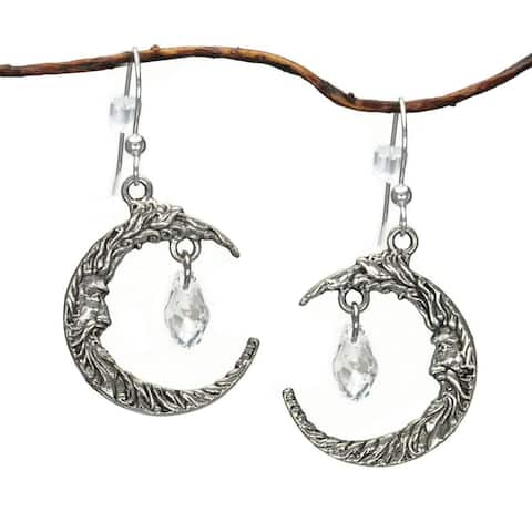 Handmade Jewelry by Dawn Antique Silver Pewter Crescent Moon Face Crystal Earrings (USA) - Clear