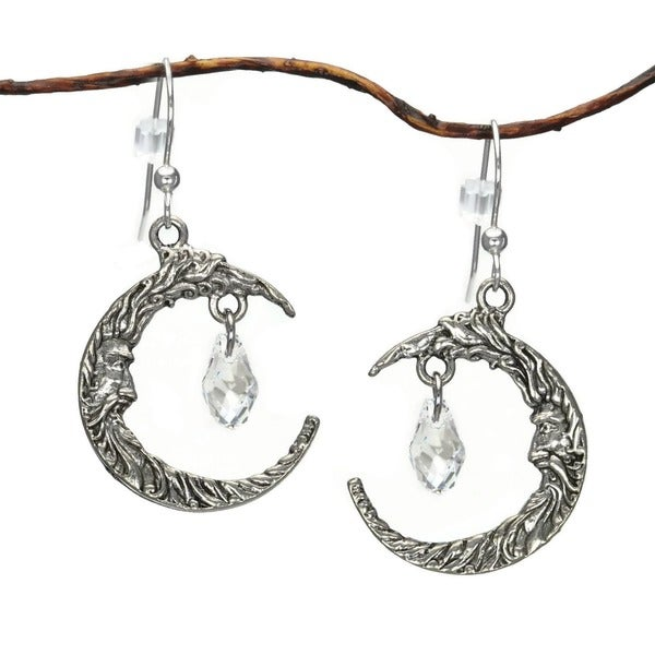 Jewelry by Dawn Antique Silver Pewter Crescent Moon Face Crystal Earrings