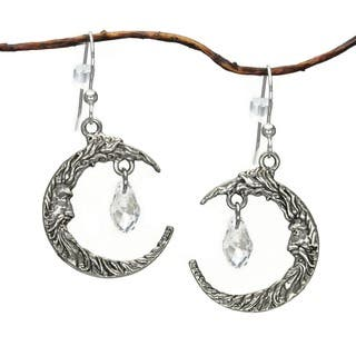 Jewelry by Dawn Antique Silver Pewter Crescent Moon Face Crystal Earrings|https://ak1.ostkcdn.com/images/products/8239206/P15567383.jpg?impolicy=medium