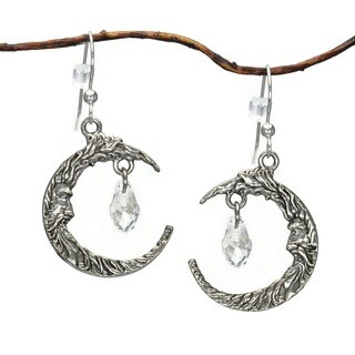 Handmade Jewelry by Dawn Antique Silver Pewter Crescent Moon Face Crystal Earrings - CLEAR