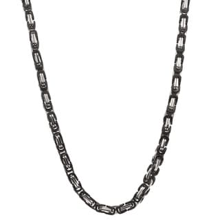 Stainless Steel and Black IP Neck Chain
