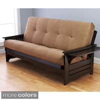 Somette Ali Phonics Multi-flex Espresso Full-size Wood Futon Frame with Innerspring Suede Mattress