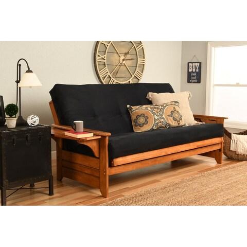 Havenside Home Okaloosa Honey Oak Full-size Wood Futon Frame with Innerspring Suede Mattress