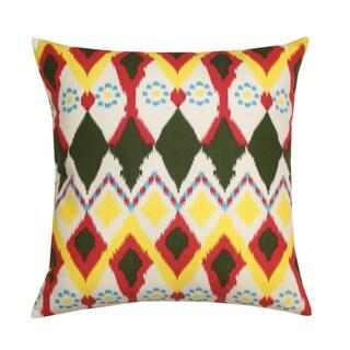 Vibrant Multicolor 'Owl' Ikat Decorative Pillow (India)