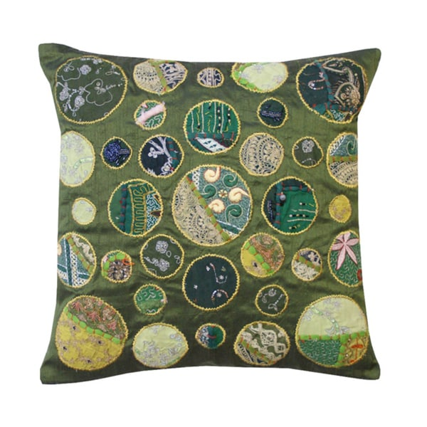Green Khambadia Decorative Throw Pillow (India)
