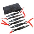 Black Color Set of 6 Throwing Knives Ninja Style With Sheath Stainless Steel