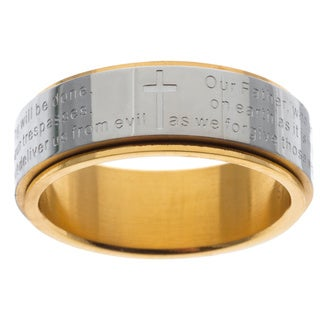 Stainless Steel and Yellow IP Lord's Prayer Spinner Band