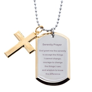 Stainless Steel and Yellow IP Dog Tag and Cross Serenity Prayer Necklace