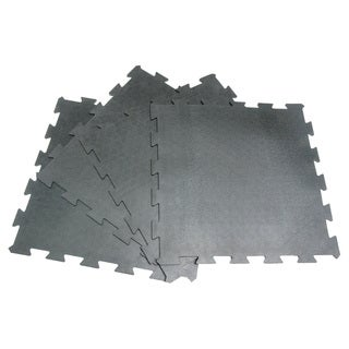 Rubber-Cal 'Armor Lock' Interlocking Rubber Mat 3/8 x 2ft. x 2ft Black Rubber Tiles - (4 Pack, Covers 16 Square Feet)