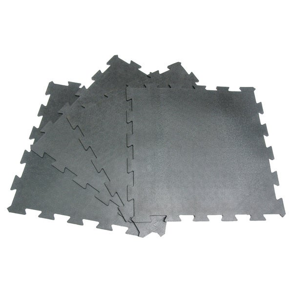 Rubber-Cal 'Armor Lock' Interlocking Rubber Mat  3/8 x 2ft. x 2ft  Black Rubber Tiles - (4 Pack, Covers 16 Square Feet)