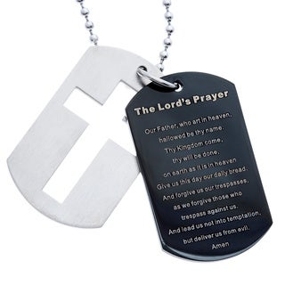 Stainless Steel and Black IP Dog Tag and Cross Lord's Prayer Necklace