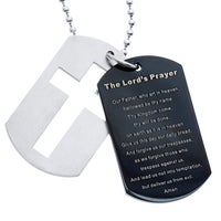 Shop mens blackplated stainless steel cross and lords prayer stainless steel and black ip dog tag and cross lords prayer necklace aloadofball Gallery