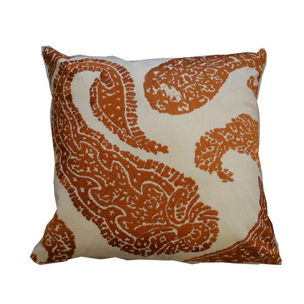 Embroidered Paisley Orange Decorative Pillow (India)