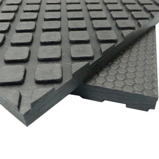 """Rubber-Cal Maxx-Tuff Floor Protection Mats - 1/2"""" Thick Rubber Matting - Available in 3 Sizes -Black (3 options available)"""