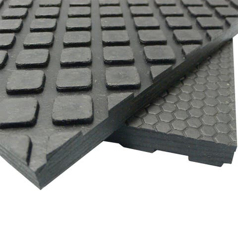 """Rubber-Cal Maxx-Tuff Floor Protection Mats - 1/2"""" Thick Rubber Matting - Available in 3 Sizes -Black - 48 x 72"""