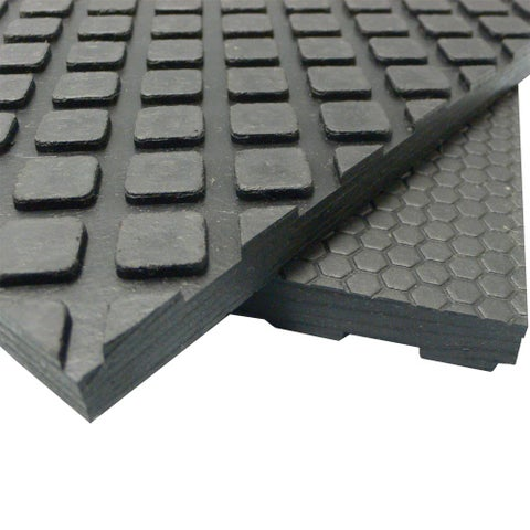 "Rubber-Cal Maxx-Tuff Floor Protection Mats - 1/2"" Thick Rubber Matting - Available in 3 Sizes -Black"