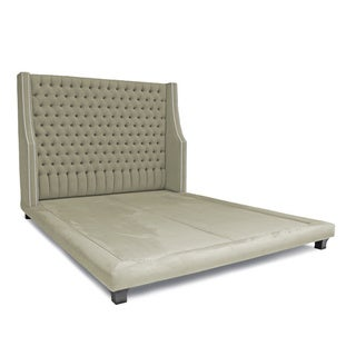 Decenni Custom Furniture 'Taglia' Pumice Micro-suede Tufted Platform Bed