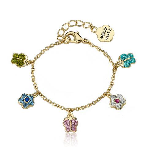 Molly Glitz 14k Goldplated Children's Crystal Butterfly Charm Bracelet