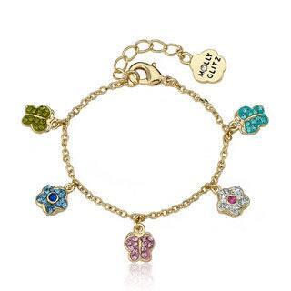 Molly Glitz 14k Goldplated Children's Crystal Butterfly Charm Bracelet|https://ak1.ostkcdn.com/images/products/8239316/Molly-Glitz-14k-Goldplated-Childrens-Crystal-Butterfly-Charm-Bracelet-P15567558.jpg?impolicy=medium