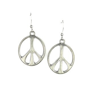 Jewelry by Dawn Antique Silver Pewter Peace Sign Earrings