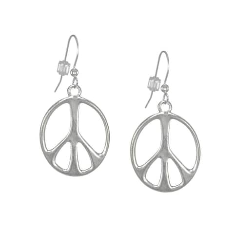 Handmade Jewelry by Dawn Antique Silver Pewter Peace Sign Earrings (USA)