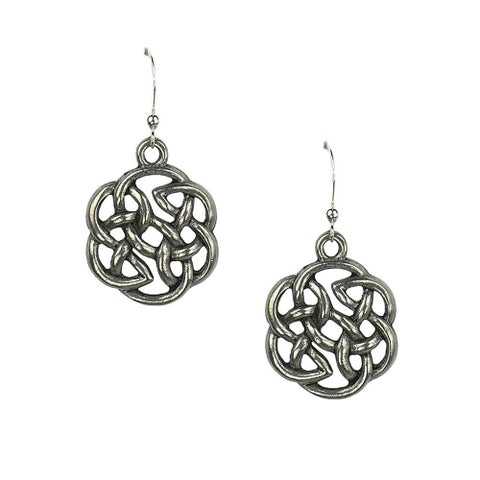 Handmade Jewelry by Dawn Antique Silver Pewter Celtic Knot Earrings (USA)