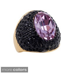 Riccova 14k Gold Overlay Colored and Black Crystal Ring (More options available)