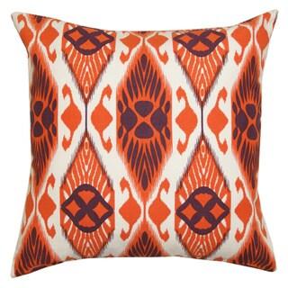 Orange and Black Ikat Decorative Pillow (India)