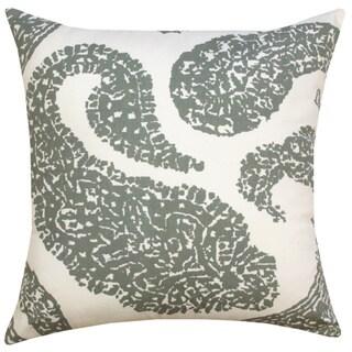 Gray Overscale Paisley Throw Pillow (India)