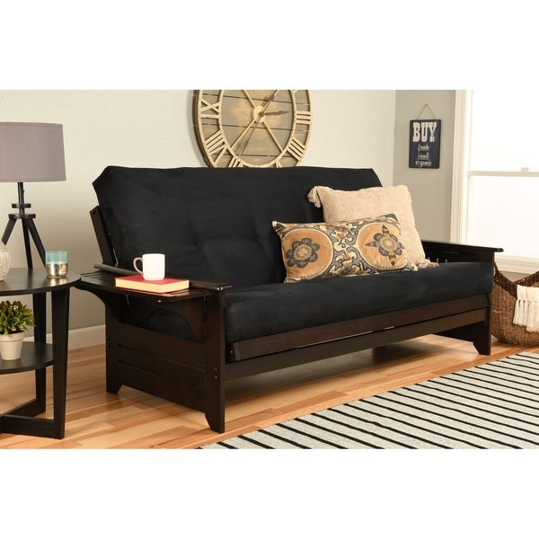Copper Grove Dixie Espresso Full-size Wood Futon Frame with Innerspring Suede Mattress
