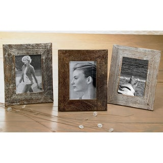 "Set of 3 Distressed Wood 5x7"" Frames"