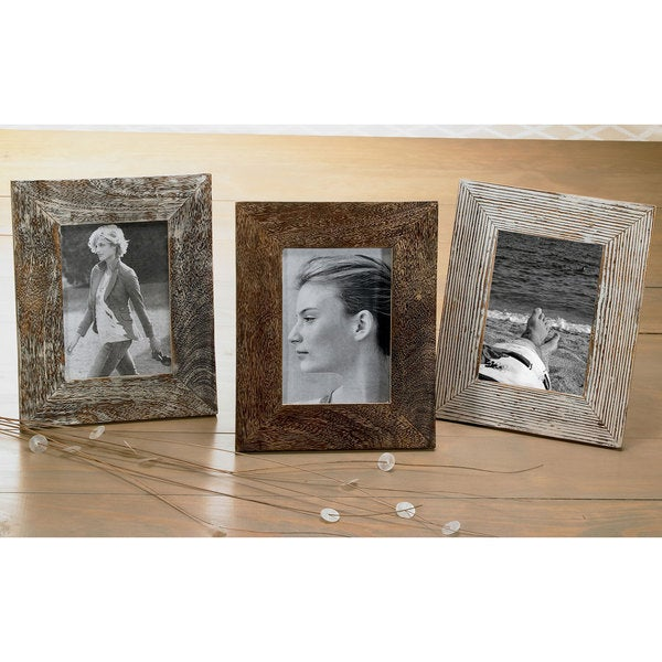 Shop Set Of 3 Distressed Wood 5x7 Frames On Sale Free Shipping