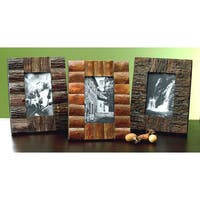 "Set of 3 Rustic Tree Bark Wood 4x6"" Frames"