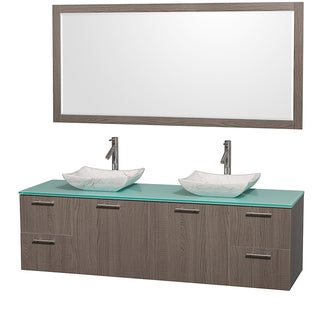 Wyndham Collection Amare Double-sink Grey Oak 72-inch Vanity and Mirror Set